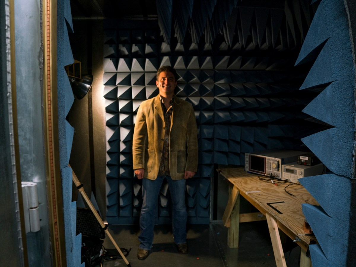 Dr. Jerry Wilmink stands in Wisewear's radio frequency (RF) anechoic chamber, which is a specially designed room used for Bluetooth signal testing.