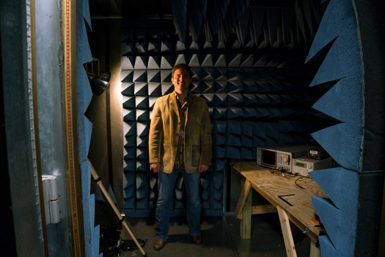 Jerry Wilmink stands in Wisewear's radio frequency (RF) anechoic chamber, which is a specially designed room used for Bluetooth signal testing.