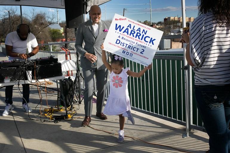 Councilman Alan Warrcik (D2) watches his daughter dance after making his re-election bid announcement.