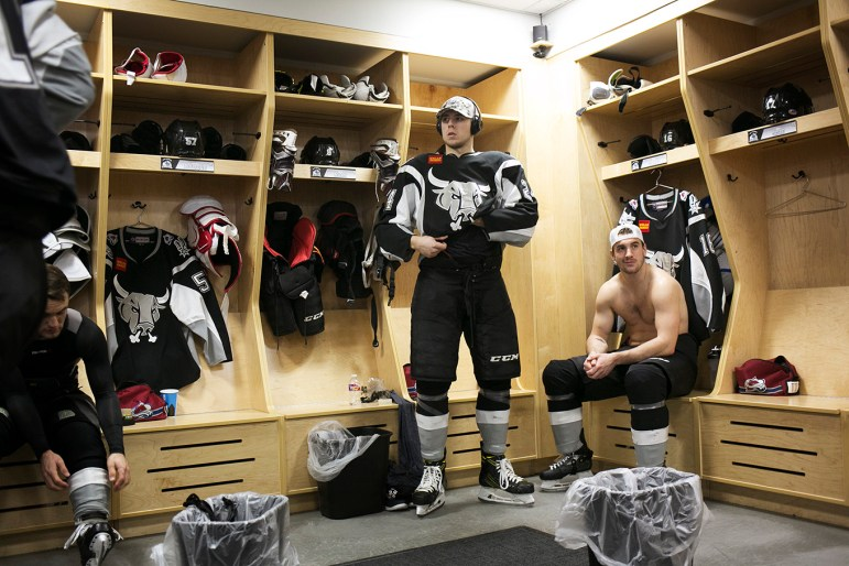 San Antonio Rampage forward A.J. Greer gets ready before a game against the Ontario Reign.