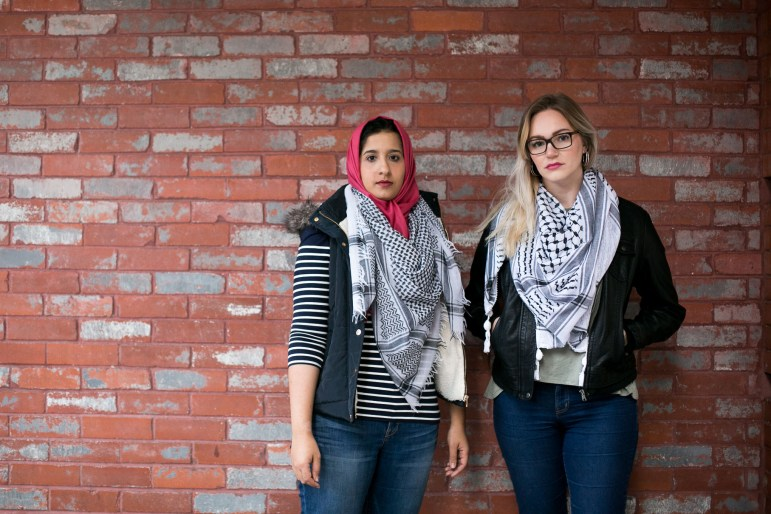 """From left: Local activist Besan Abu Radwan and Lauren Hasha are organizing a """"no ban, no wall"""" march on Feb. 18."""