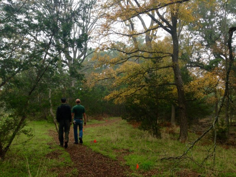 Volunteers walk along a Bulverde Oaks Nature Preserve Trail.