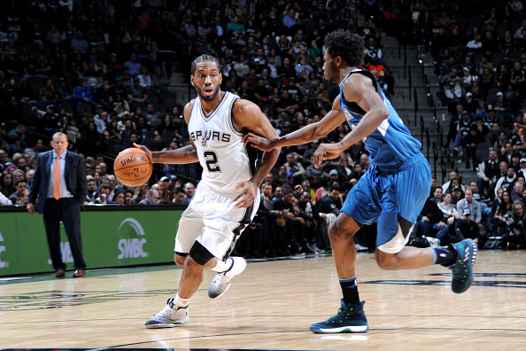 Kawhi Leonard #2 of the San Antonio Spurs handles the ball during the game against the Minnesota Timberwolves on January 17, 2017 at the AT&T Center in San Antonio, Texas.