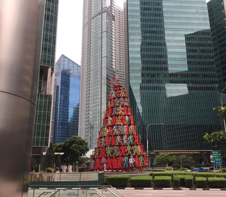 'Momentum,' the 60-foot tall Christmas tree by David Gerstein at Finlayson Green, signifies Singapore's vibrancy and dynamism.