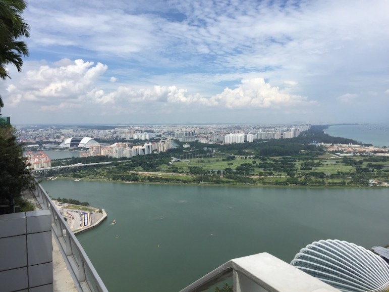 The view of Singapore and its port waters from the rooftop of the Marin Bay Sands Hotel.