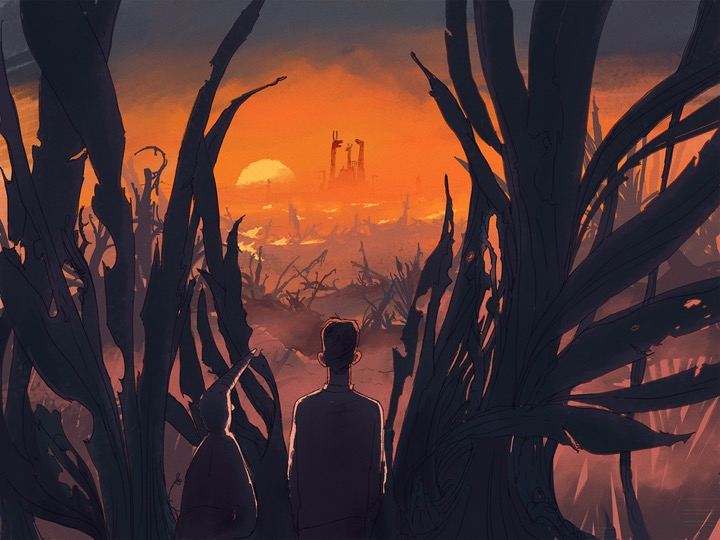 """A scene from the motion graphic novel as depicted from Fons Scheidon's """"Land of the Magic Flute."""""""
