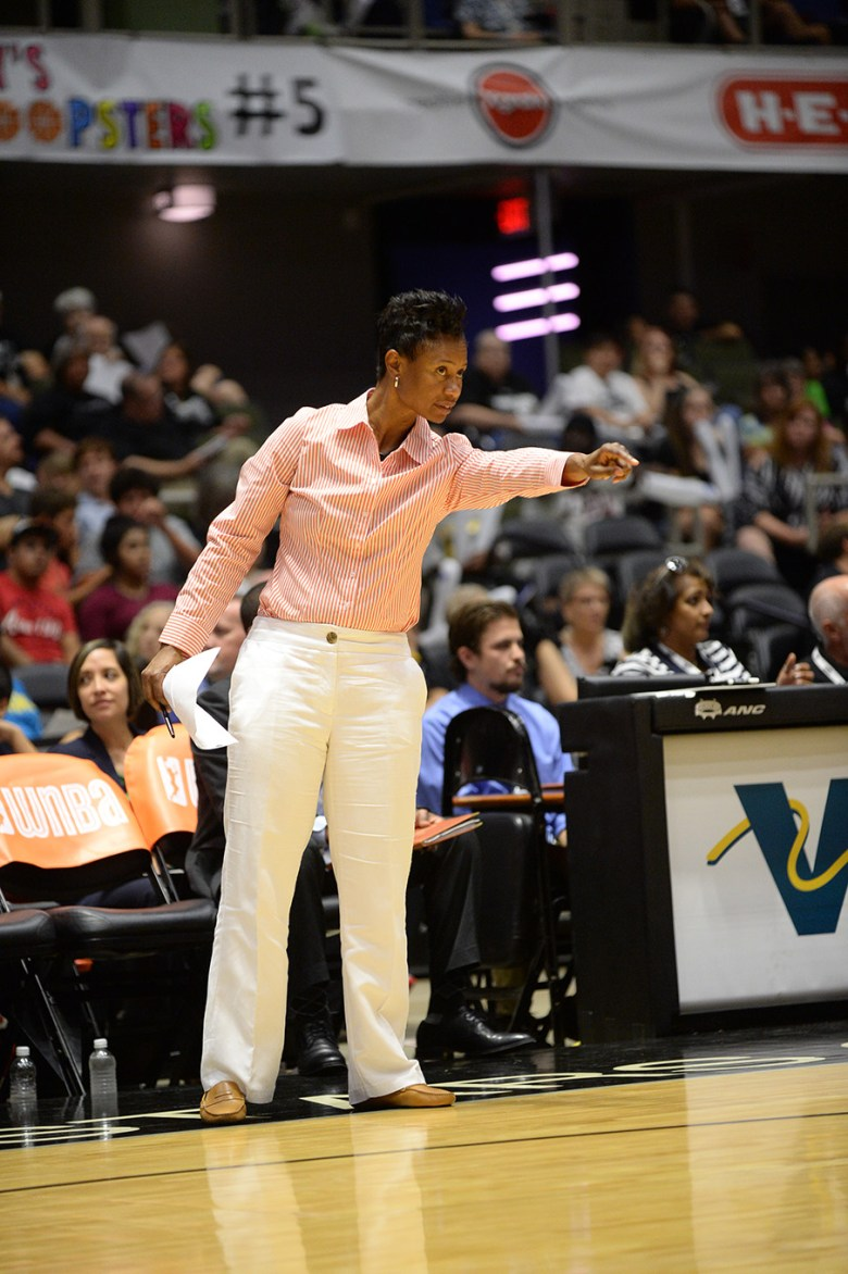 San Antonio Stars Assistant coach Vickie Johnson gives direction during a game.