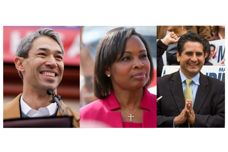 From left: Mayoral candidates Ron Nirenberg, Ivy Taylor, and Manuel Medina.