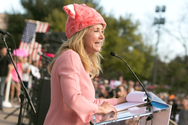 Former State senator and gubernatorial candidate Wendy Davis speaks at the women's march at the state Capitol on Jan. 21, 2017.