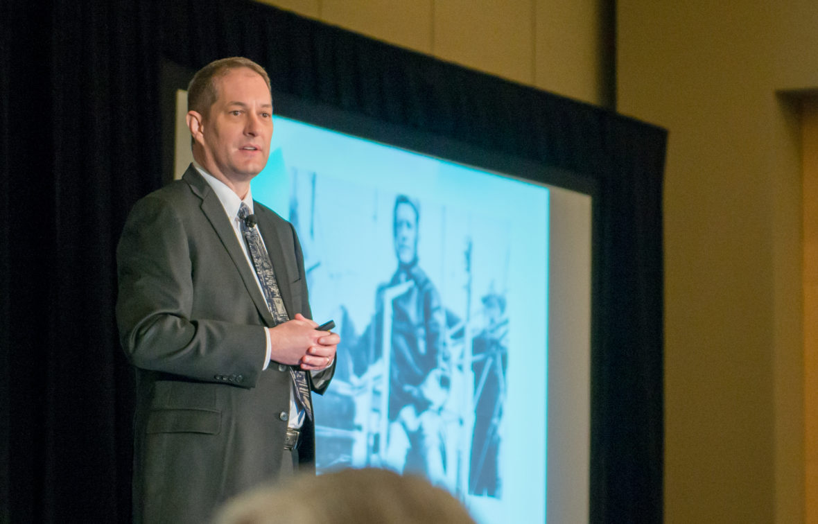 Jim Perschbach, executive VP of business development at Port San Antonio, speaks at the 2017 Aero-Engines Americas Conference at the Grand Hyatt on Feb.2, 2017.