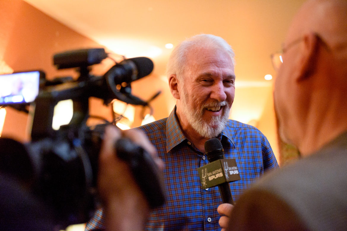 Spurs Head Coach Gregg Popovich responds to reporters questions during an event earlier this week.