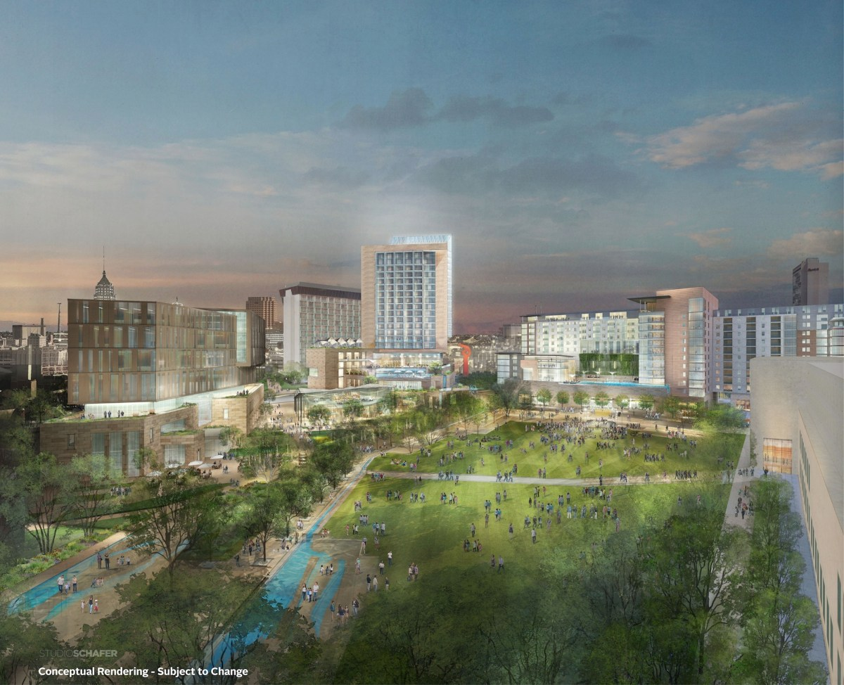 Preliminary rendering of Civic Park, looking north from the southeast corner.