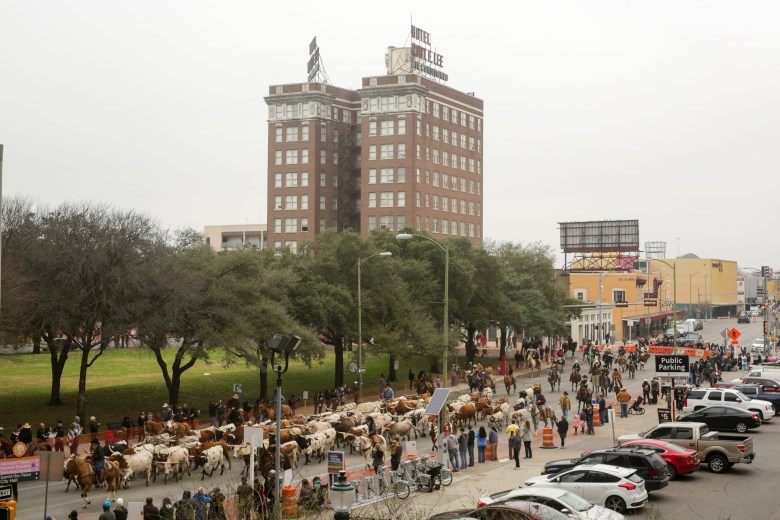 The parade was rerouted through to Travis Street due to construction along a portion of East Houston Street.