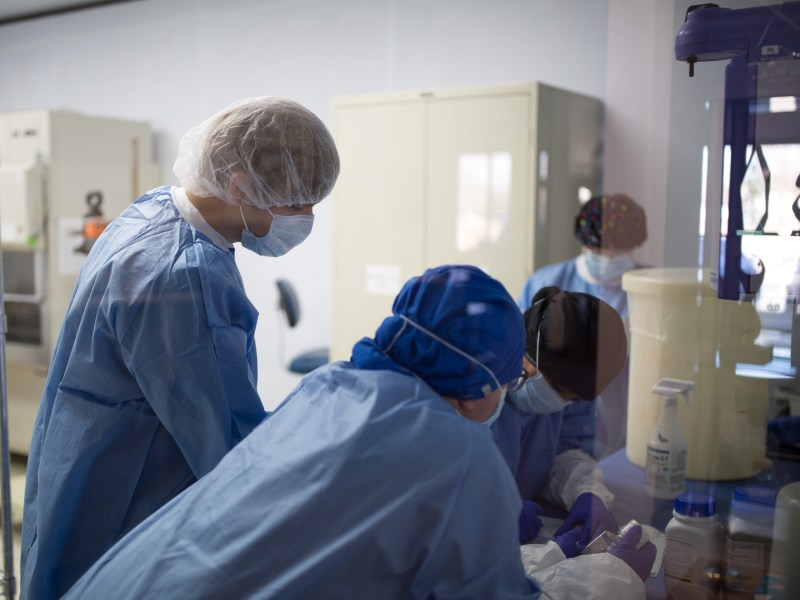 Scientists work in the product formulation room which is part of the biomanufacturing suite at INCELL.