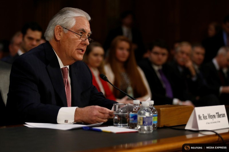 Rex Tillerson, the former chairman and chief executive officer of Exxon Mobil, testifies before a Senate Foreign Relations Committee confirmation hearing on his nomination to be U.S. secretary of state in Washington, D.C. on Jan. 11, 2017.