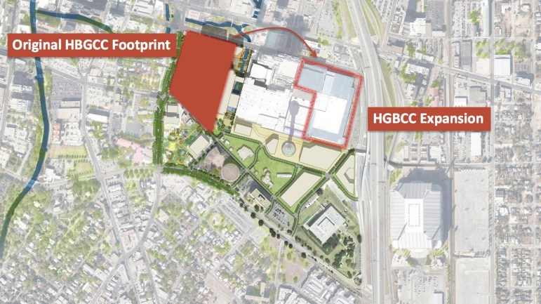 Map of convention center relocation.