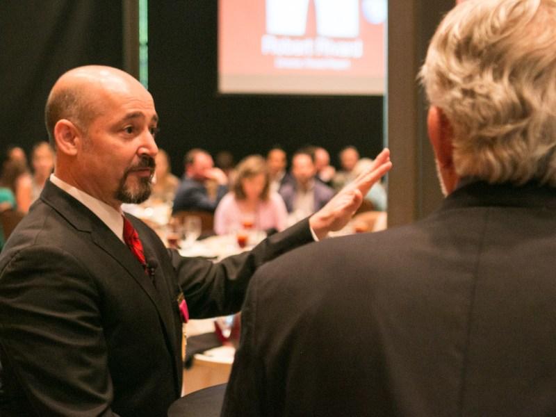 Urban3 Principal Joe Minicozzi, AICP (left) answers a question asked by Rivard Report Director Robert Rivard.