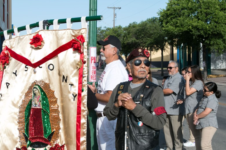 Robert Alvarado looks out at the large crowd before the Official 21st Anniversary Cesar E. Chavez March For Justice.