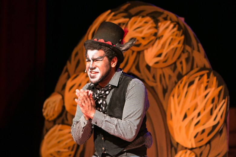 """Magik Theatre actor Venny Mortimer plays the role of Culver Coyote in the sensory-friendly performance of """"The Three Javelinas."""""""