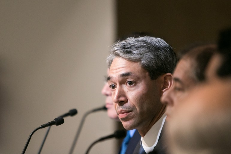 Mayoral candidate Councilman Ron Nirenberg (D8) answers questions at the Mayoral Arts Forum in the San Antonio Central Library auditorium.
