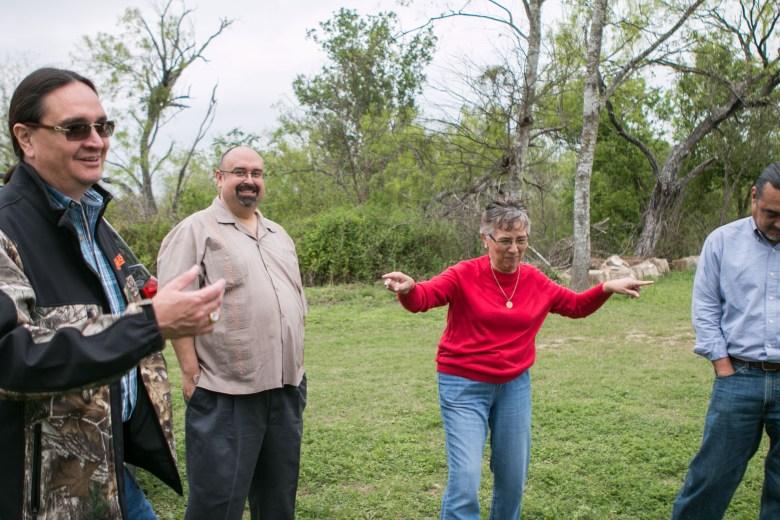 From left, professor at Northwest Vista College Rudy de la Garza, local lawyer and historian Art Martinez de Vara, Mary Castro, and Executive Director of AITSCM Ramon Vasquez share a laugh.
