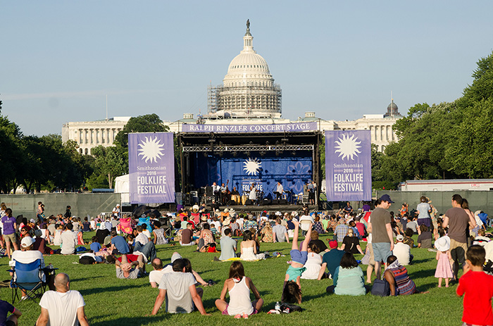 A Smithsonian Folklife Festival stage in front of the United States Capitol last year.