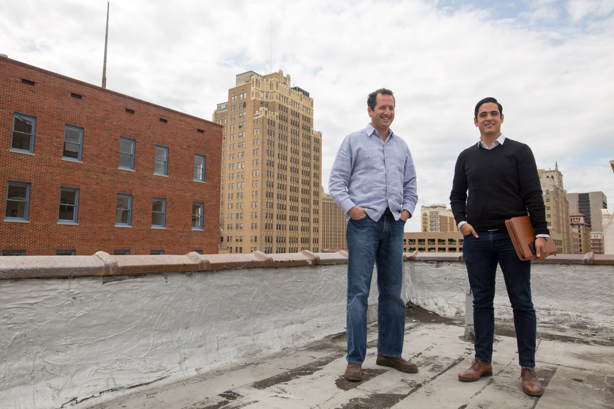From left: AREA Real Estate Principal and AREA Urban Development Manager Luis Martinez are in the process of converting the Burns Building into a multi-tenant office space in the Tech District of San Antonio.