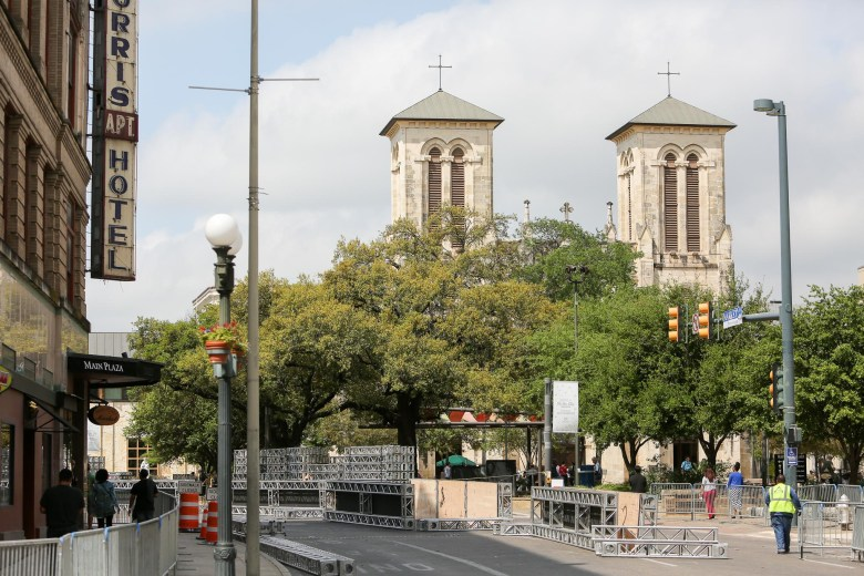 Dolorosa Street is closed in preparation for the filming of American Ninja Warrior which will use downtown San Antonio as a backdrop during the recorded competition.