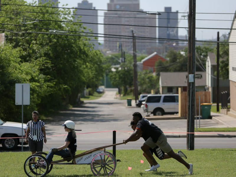 The Bexar County Racers come close to the finish line at Lockwood Park.