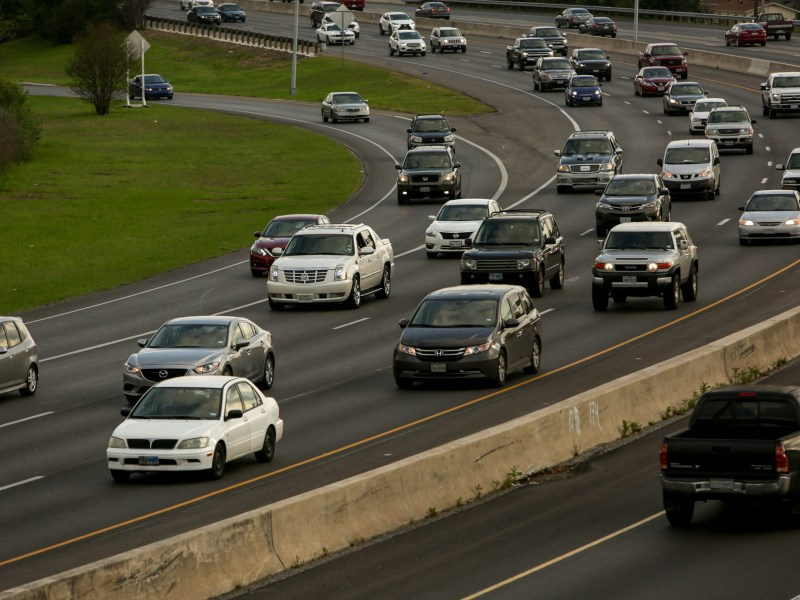 Commuters head north on U.S. Highway 281.