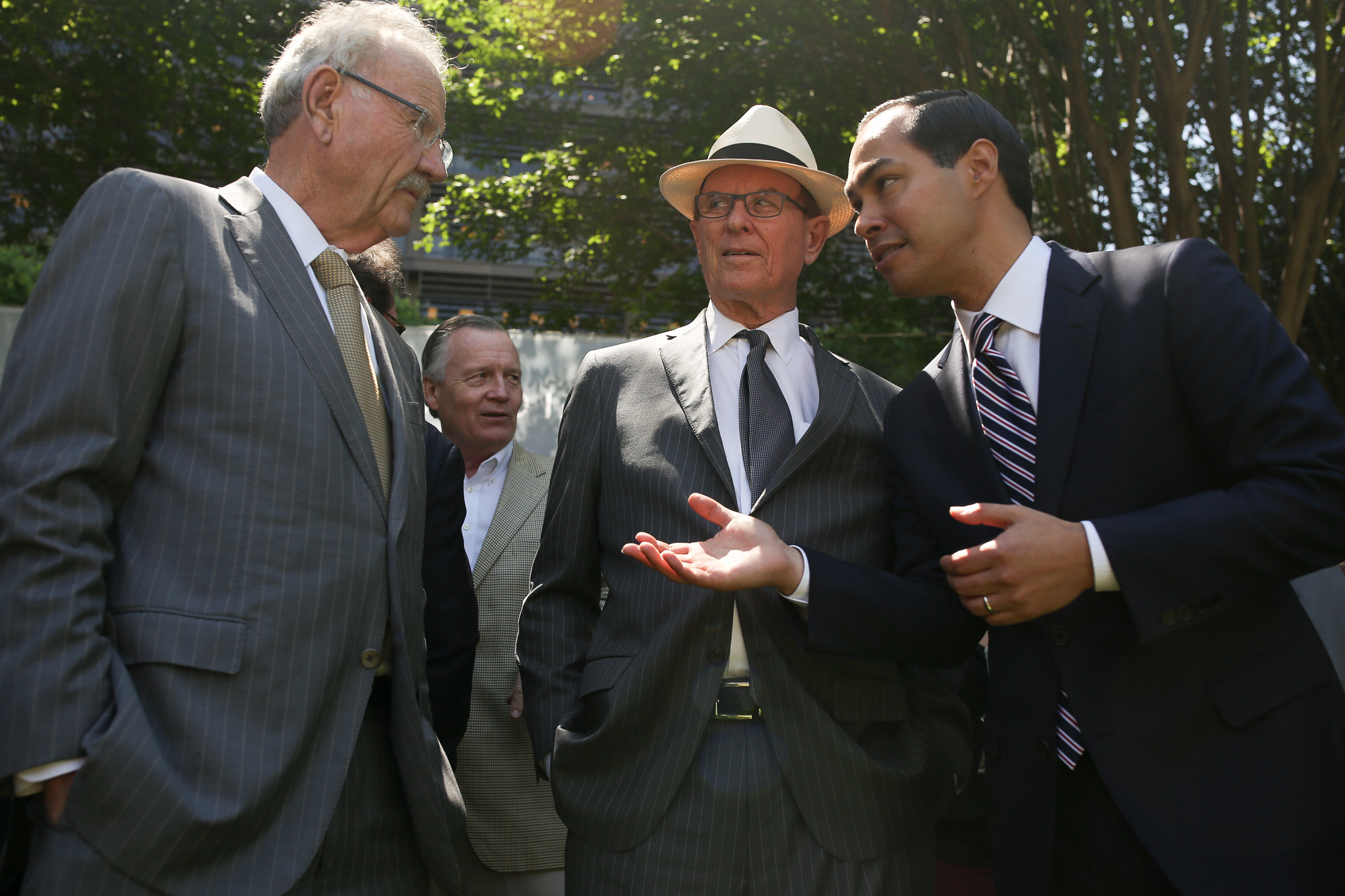 Former San Antonio Mayors (from left) Phil Hardberger, County Judge Nelson Wolff, and Julian Castro.