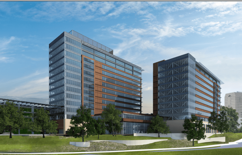 Riverwalk view of the proposed CPS Energy Headquarters.