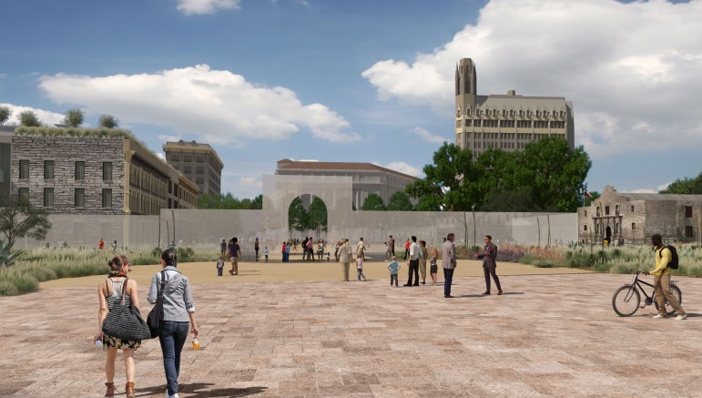 This daytime rendering shows the pedestrian plaza that South Alamo Street (looking north) could become.