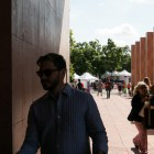 Crowds of people walk inside the San Antonio Public Library during the San Antonio Book Festival.