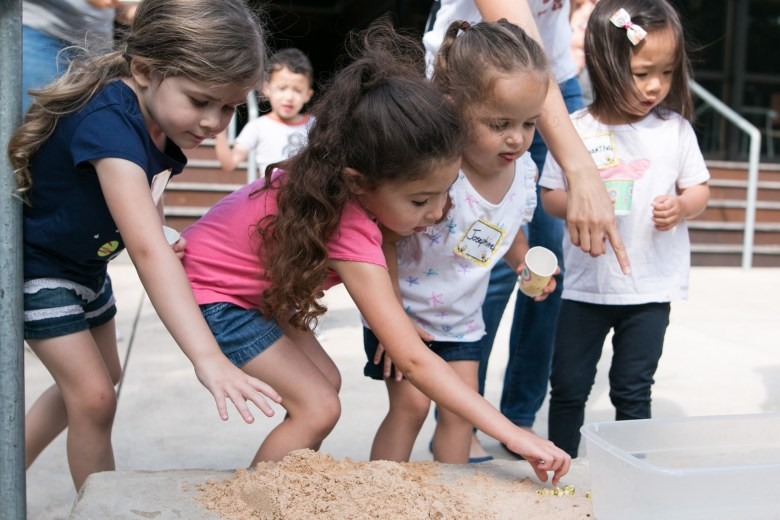 Children search for pretend bees in the Starting Out Wild class in Phil Hardberger Park.