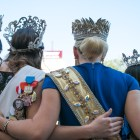 Women wearing crowns pose for a photo at the crowning of El 69th Rey Feo Fred Reyes.