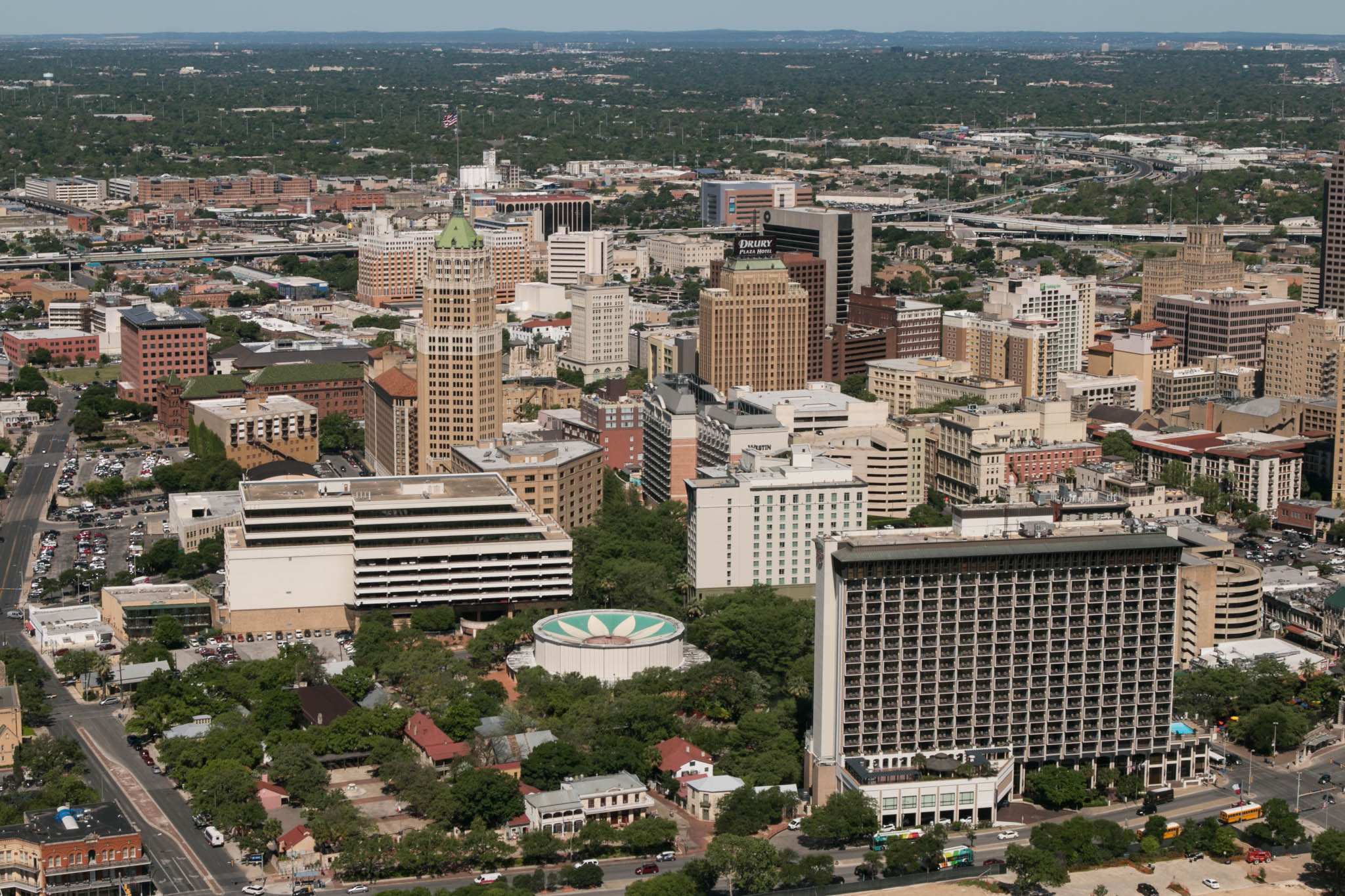 A view of District 1 can be seen from the Tower of the Americas.