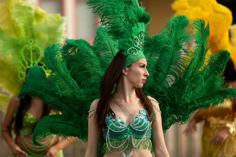 Flamenco dancers prepare for the King William Parade.
