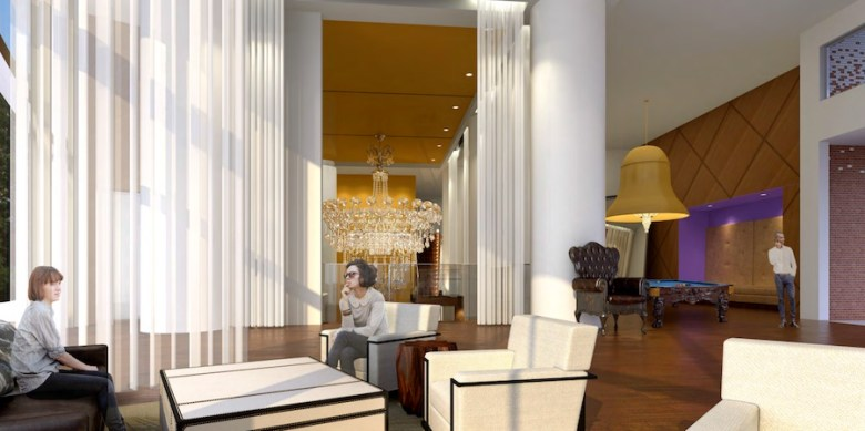 Preliminary renderings for a proposed Seaside Hospitality Corporation hotel show the lobby area with seating.