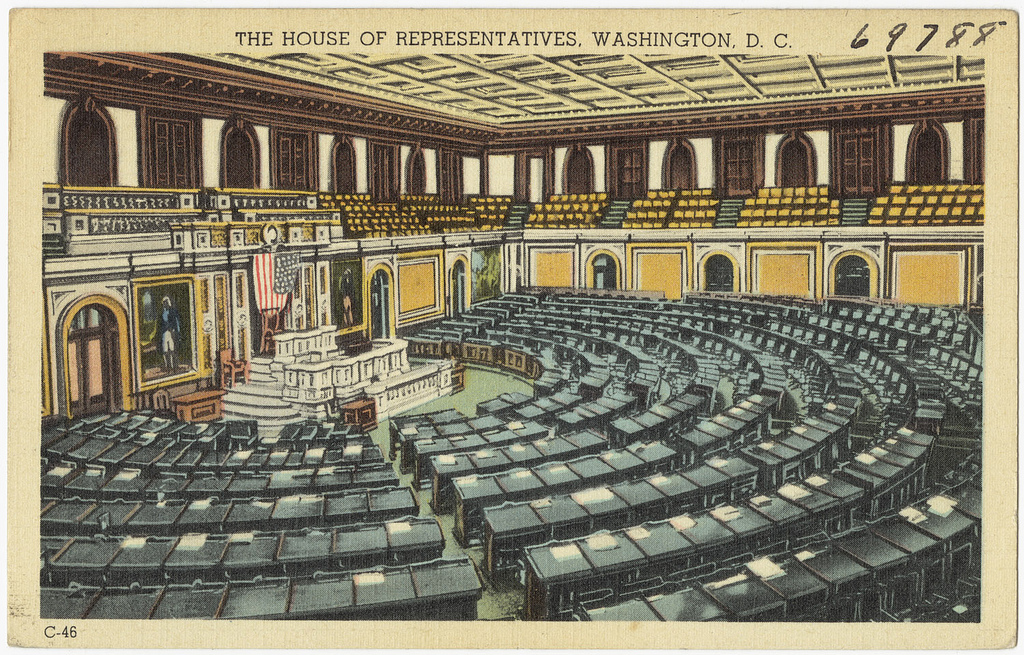 An illustrated post card of the House of Representatives in Washington, D.C.