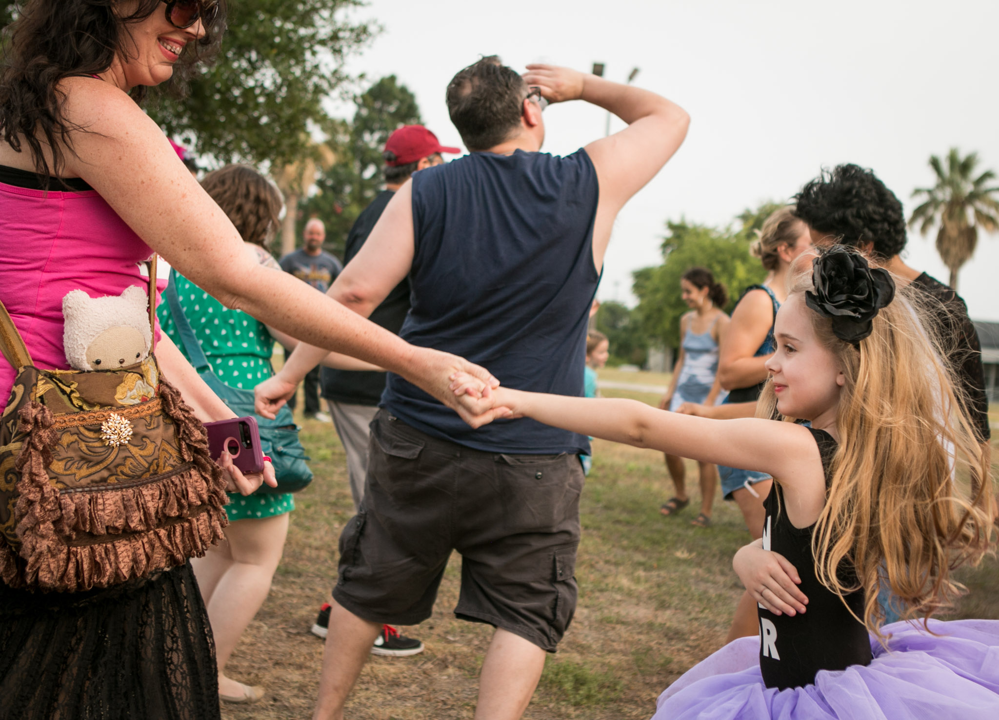 Blake, 6, dances in a tutu at the Gay Pride Mob Flash Dance in front of Mayor Ivy Taylors house.