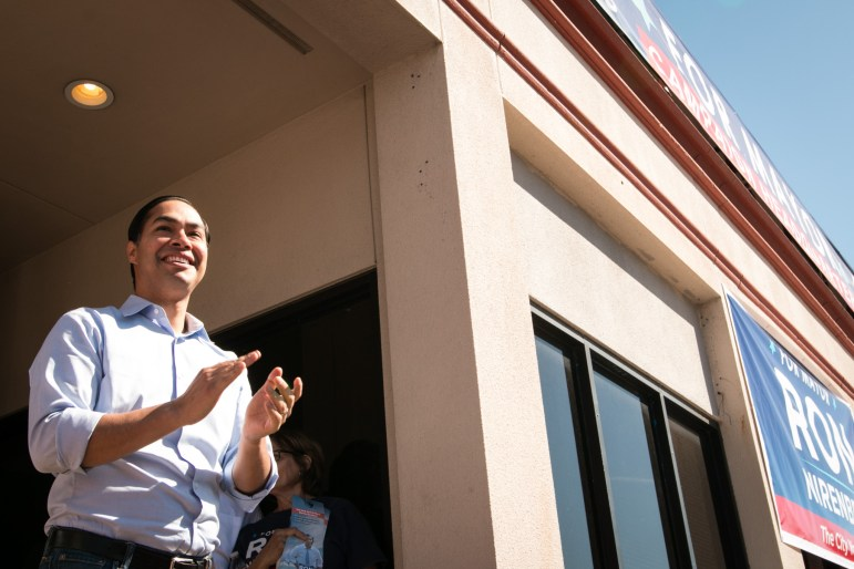Former Mayor Julián Castro gives his support for Ron Nirenberg for mayor at Nirenberg's campaign headquarters.