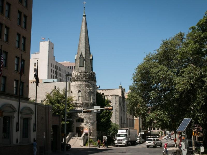 Travis Park United Methodist Church is located at 230 E. Travis St.