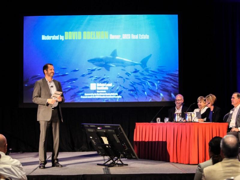 Principal of AREA Real Estate David Adelman moderates at the ULI San Antonio Developer Shark Tank.