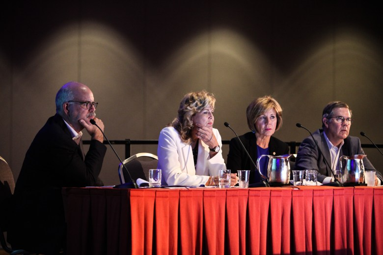 """(From left) Silver Ventures Director of Development Bill Shown, Texas Capital Bank Executive Vice President Laurie Griffith, City Manager Sheryl Sculley, and Overland Partners Principal Madison Smith act as """"sharks,"""" or judges, at the ULI San Antonio Developer Shark Tank."""