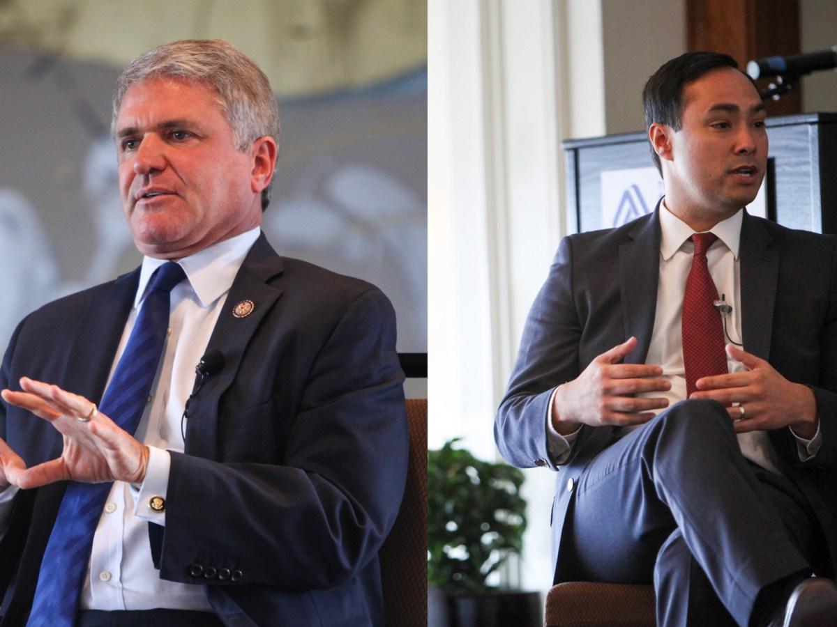 (From left) Congressman Michael McCaul (R-Texas) and Congressman Joaquín Castro (D-Texas) discuss issues os Washington at a bipartisan panel.