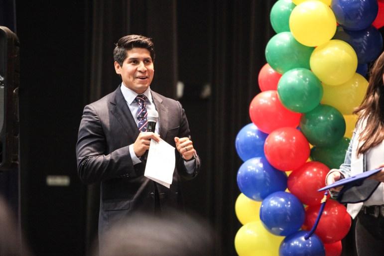 Councilman Rey Saldaña (D4) speaks at the South San Antonio High School Surprise Graduation Celebration.