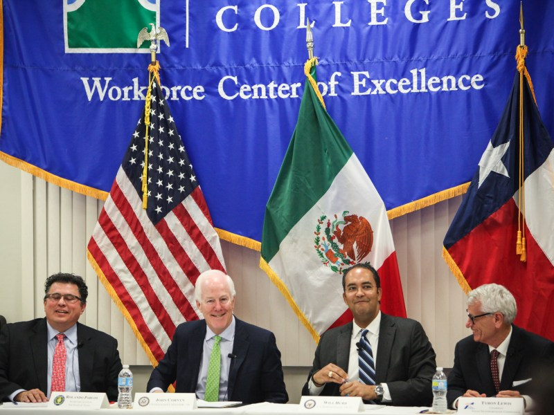 (From left to right) Texas Secretary of State Rolando Pablos, U.S. Sen. John Cornyn (Texas), U.S. Rep. Will Hurd (D23), Texas Transportation Commission chair Tryon Lewis discuss trade relations with Mexico.