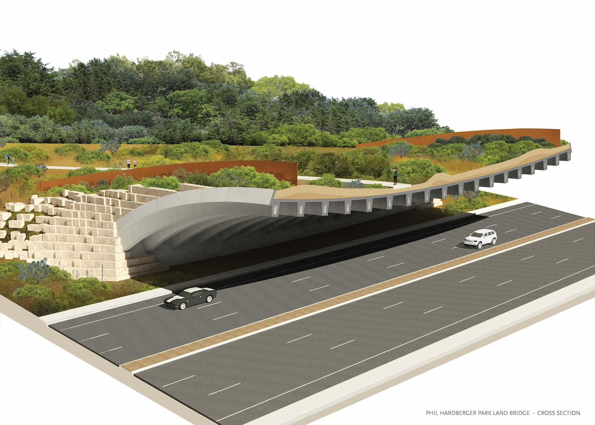 A cross section of the Phil Hardberger Park land bridge.