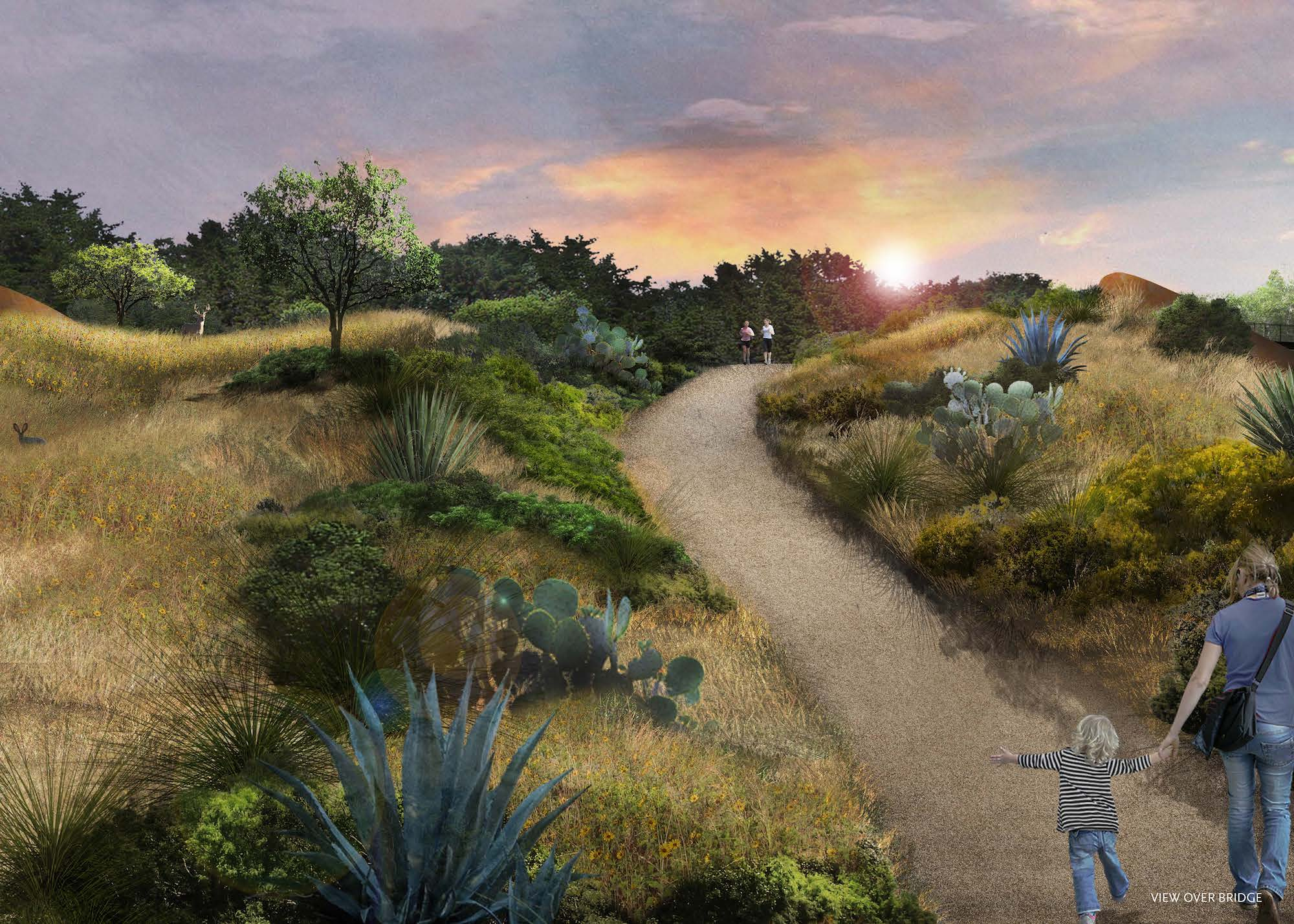 The $23 million land bridge at Phil Hardberger Park will provide save crossing for people and animals.
